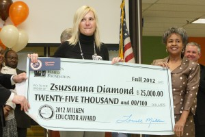 Zsuzsanna Diamond, 2012 Milken Award Winner, with Gloria Stephens, ADE Milken Coordinator